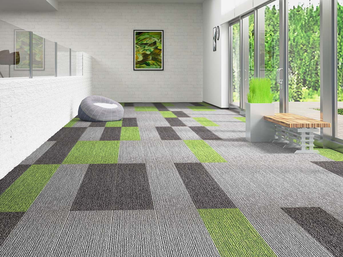 Carpet tile office carpet by harrington india prague for Grass carpet tiles